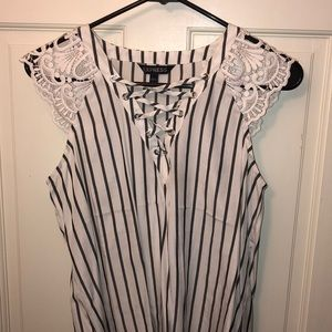 Express grey and white striped blouse